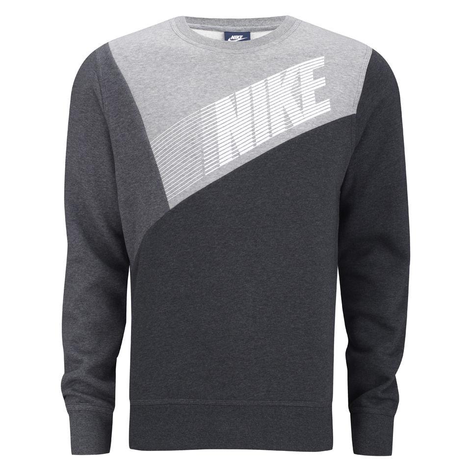 9610cdf92233 Nike Men s Club Crew Neck Colour Block Sweater - Black Grey Sports    Leisure