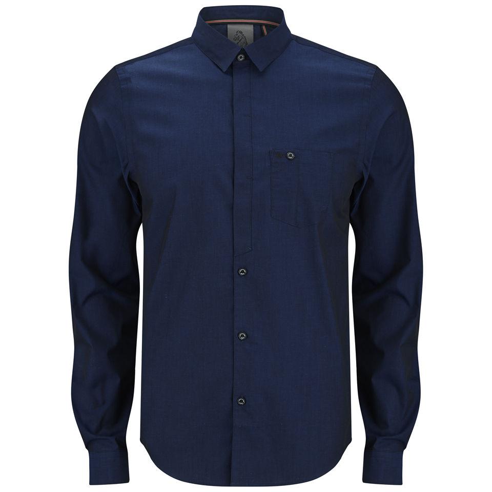 Luke 1977 Mens Marlow Long Sleeved Dress Shirt Midnight Blue Mens