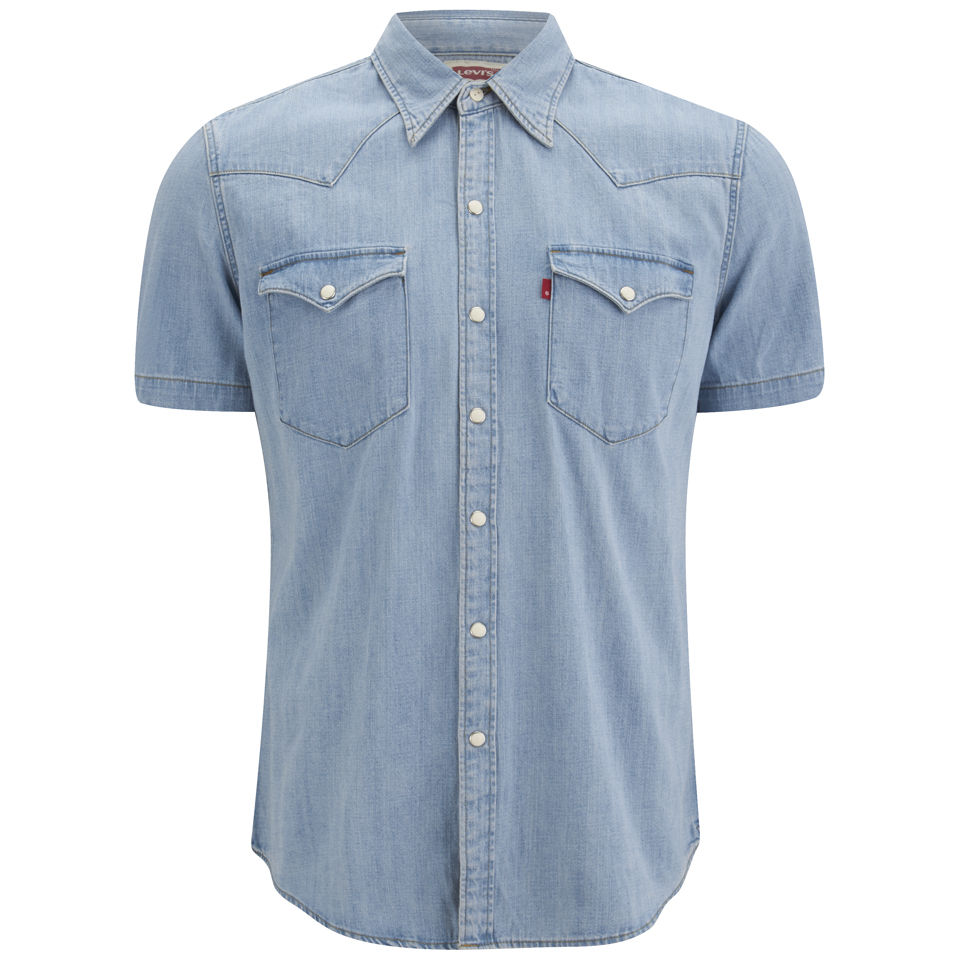 7dd9410c13 Levi s Men s Short Sleeve Slim Fit Barstow Western Shirt - Light Indigo Fog  Mens Clothing