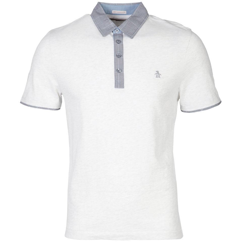 9f681a368 Original Penguin Men's Herringbone Plaid Polo Shirt - White Clothing    TheHut.com