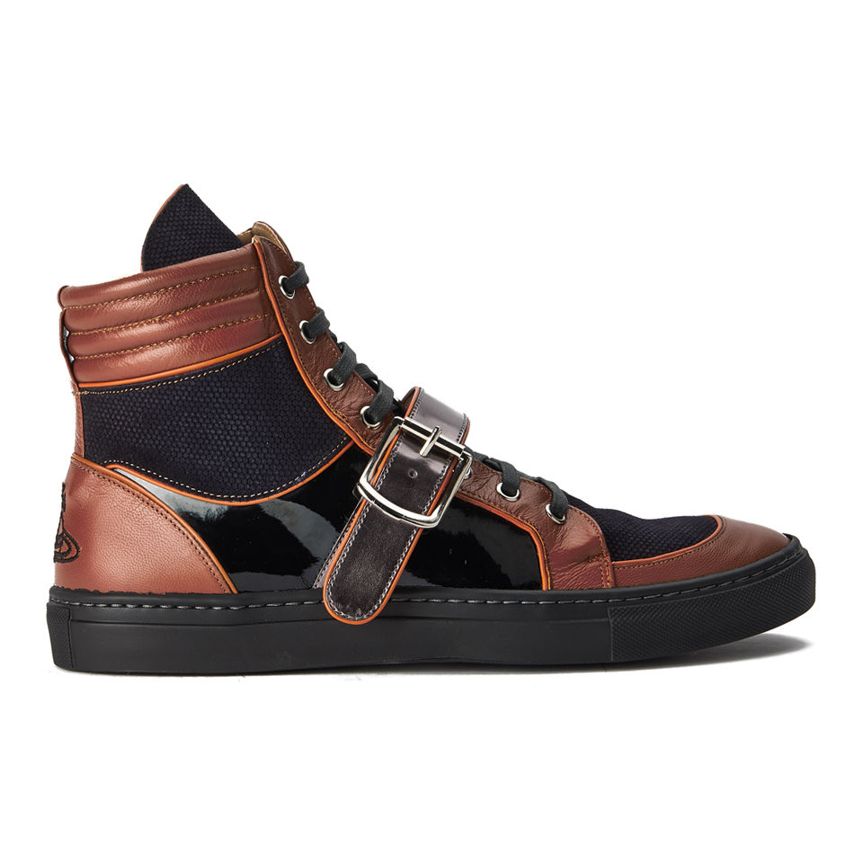 389fb7c04c620 Vivienne Westwood Men's High-Top Leather Trainers - Tan - Free UK Delivery  over £50