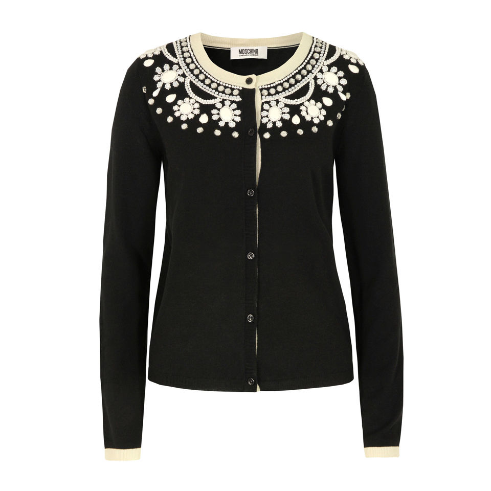 1a5ce7f62 Moschino Cheap and Chic Women s A0953 Beaded Cardigan - Black - Free ...