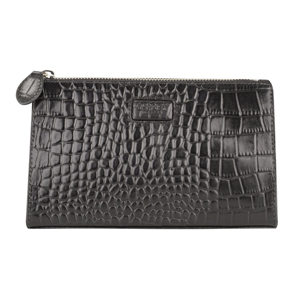 0377689380af OSPREY LONDON Large Belle Croc Leather Make Up Bag - Black - Free UK  Delivery over £50