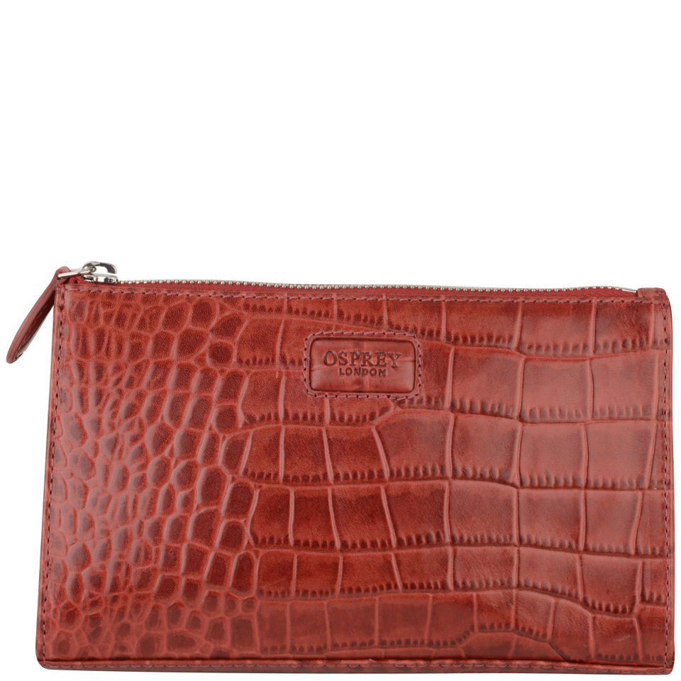 127299268102 OSPREY LONDON Large Belle Croc Leather Make Up Bag - Oxblood - Free ...