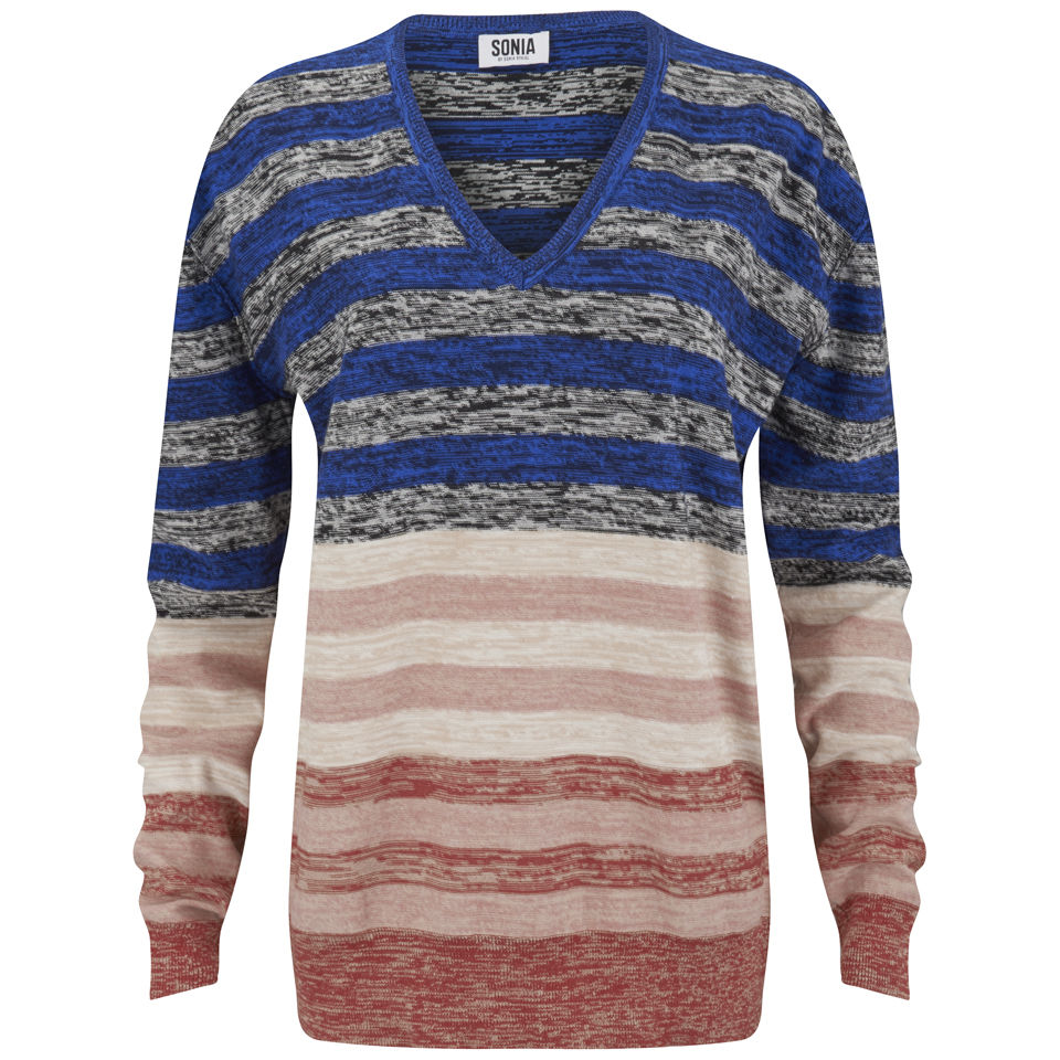 6c49becdff ... Sonia by Sonia Rykiel Women's Striped V-Neck Knit Jumper - Multi