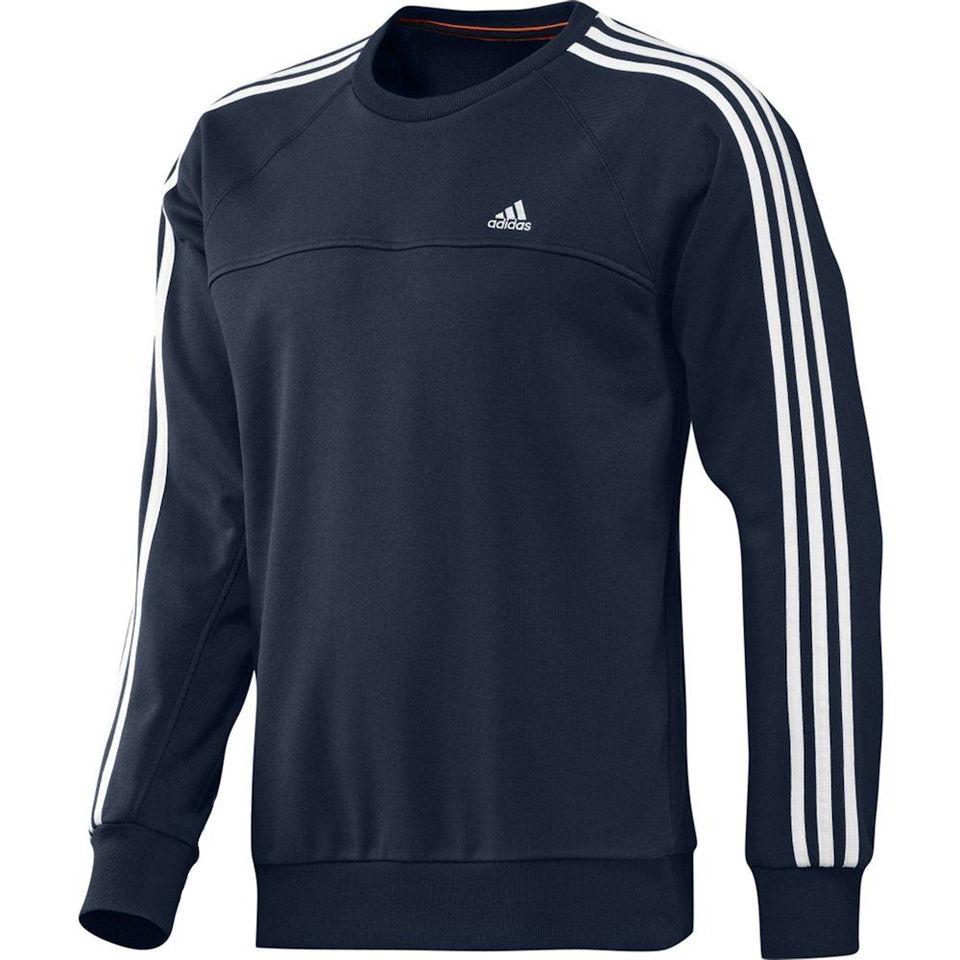 18be51ffc4f2 adidas Men s Essential 3 Stripe Crew Neck Sweatshirt - Navy White.  Description