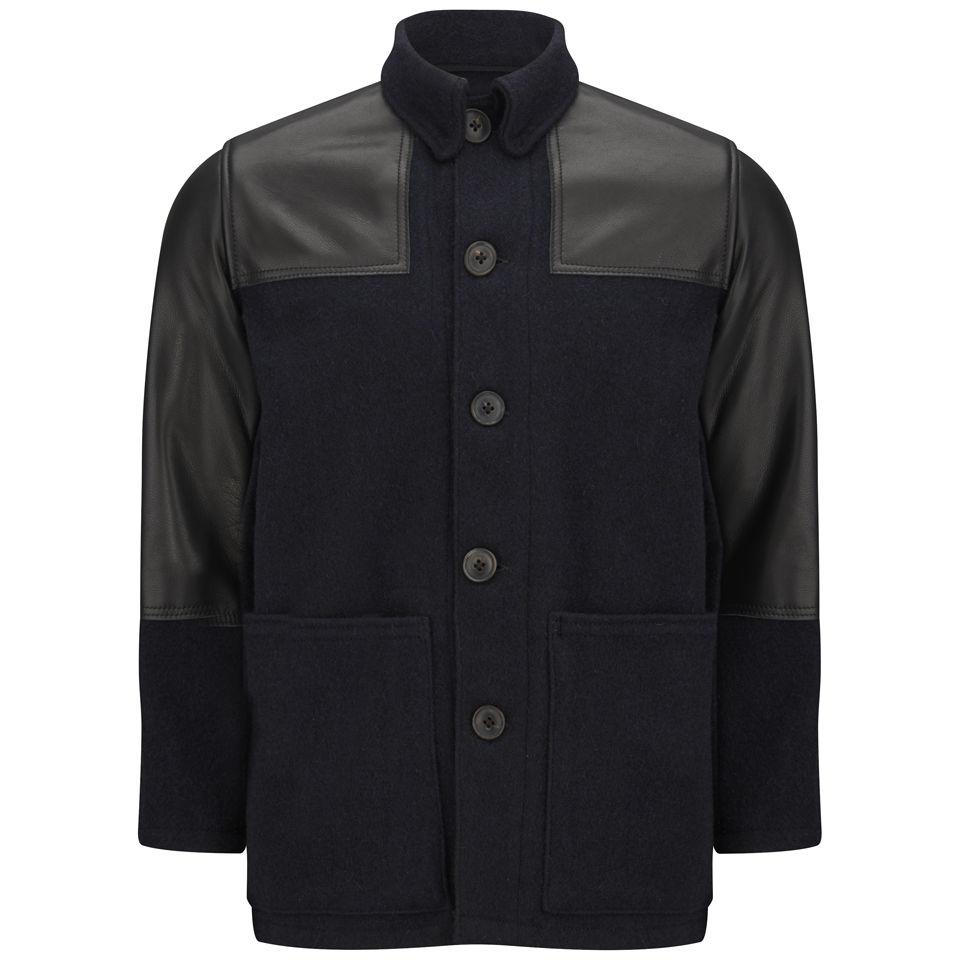 bdefa2a842b6 Nigel Cabourn Men s Donkey Herringbone Wool Leather Jacket - Navy ...