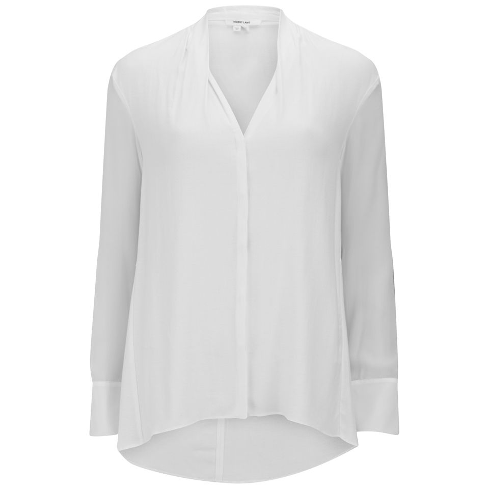 b813f5fa564bef Helmut Lang Women s Blouse with Buttoned Sleeves - Optic White ...