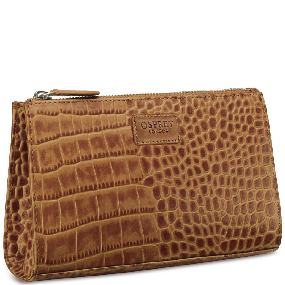 022b3f997529 OSPREY LONDON The Large Belle Polished Croc Leather Make Up Bag - Tan -  Free UK Delivery over £50