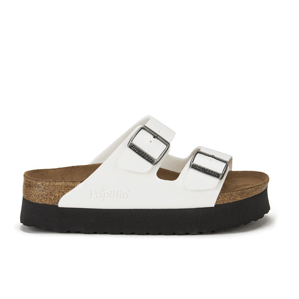 ef78f28dbd Birkenstock Papillio Women's Arizona Slim Fit Patent Double Strap Platform  Sandals - White Patent - Free UK Delivery over £50