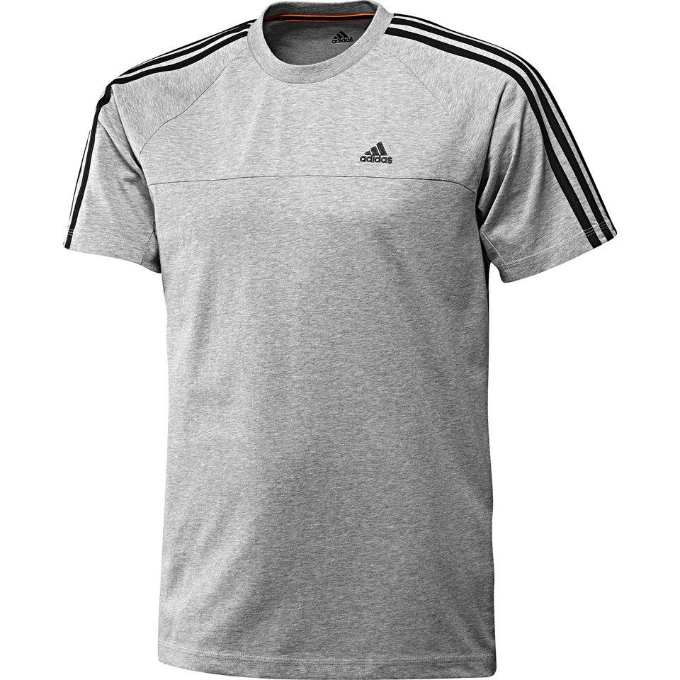 adidas Herren Essential 3 Streifen Crew Neck T Shirt Grau MarlSchwarz