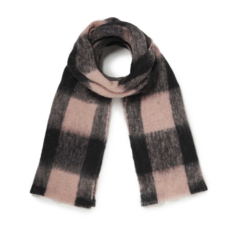 Maison Scotch Women S Large Wool Check Scarf Baby Pink Black