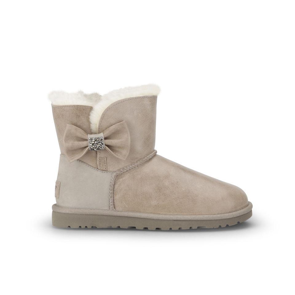 37bb166867f UGG Women's Mini Bailey Bow Crystal Sheepskin Leather Boots - Metal Grey