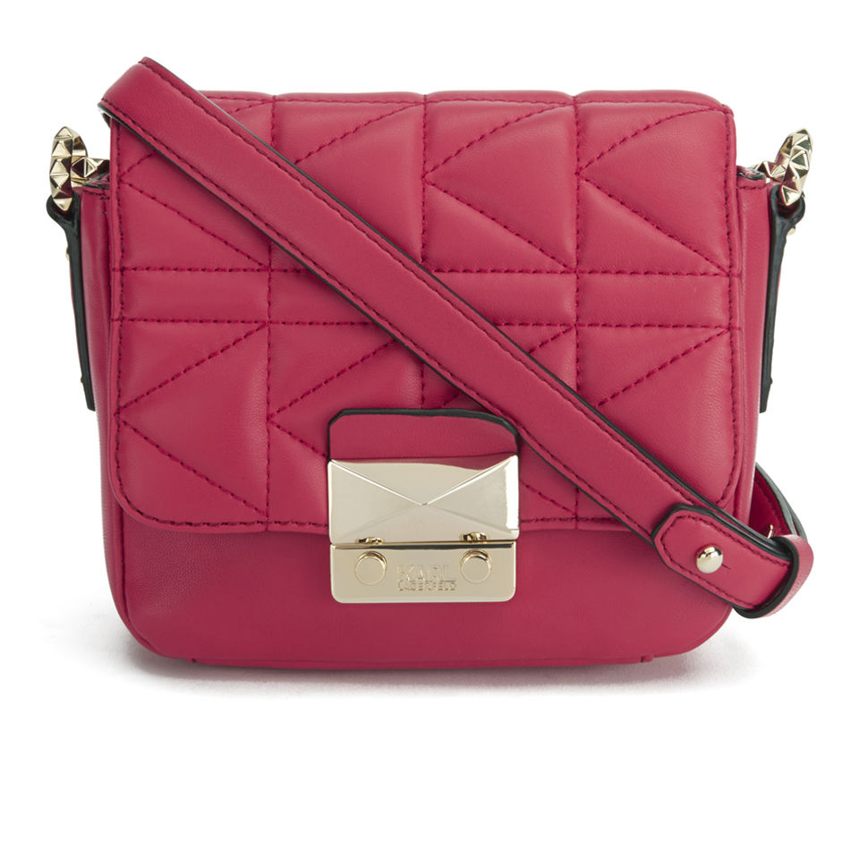 ca798a182556 Karl Lagerfeld K Kuilted Leather Cross Body Bag - Raspberry - Free UK  Delivery over £50