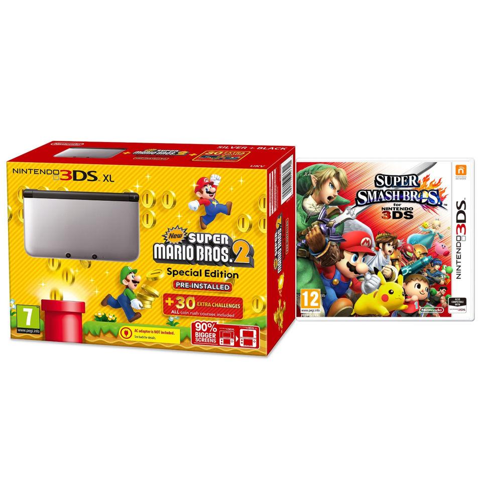 Nintendo 3DS XL Silver and Black Console - Includes New Super Mario Bros 2  & Super Smash Bros