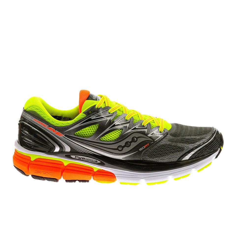 cbdc87bcf156 Saucony Mens Hurricane ISO Running Shoes - Grey Yellow Orange Sports ...