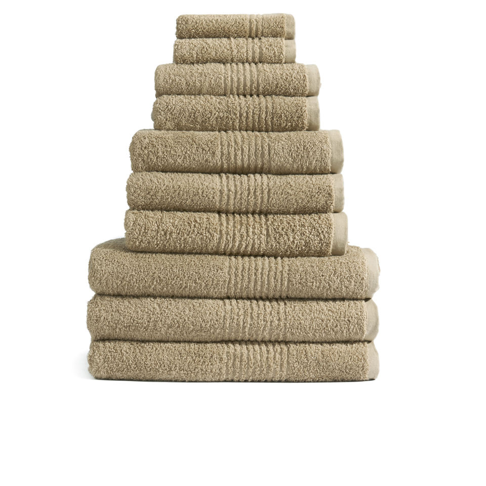 Highams 100% Egyptian Cotton 10 Piece Towel Bale (550gsm) - Latte