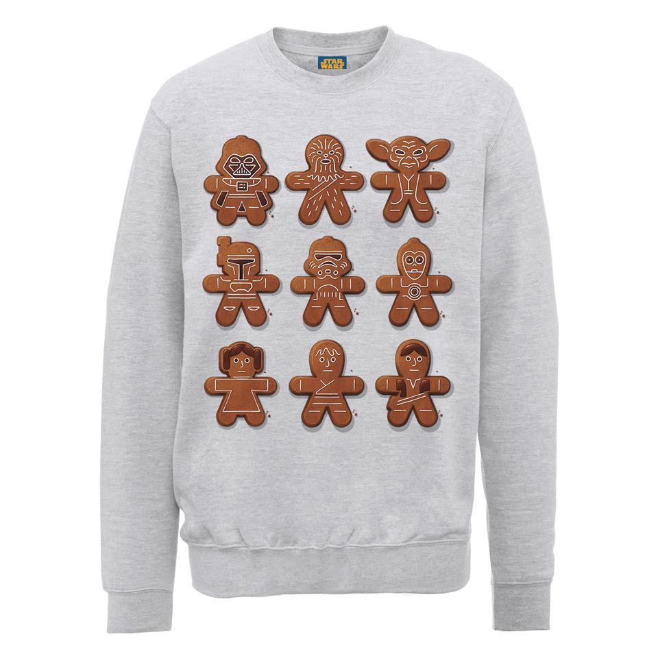 Starwars Kersttrui.Star Wars Christmas Gingerbread Characters Sweatshirt Heather Grey