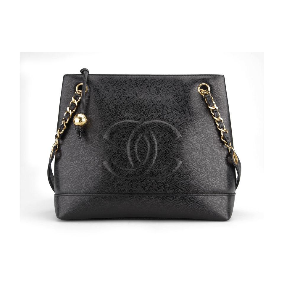 e3debf48ebf7 Chanel Vintage Black Caviar Leather Shoulder Tote Bag - Black - Free ...