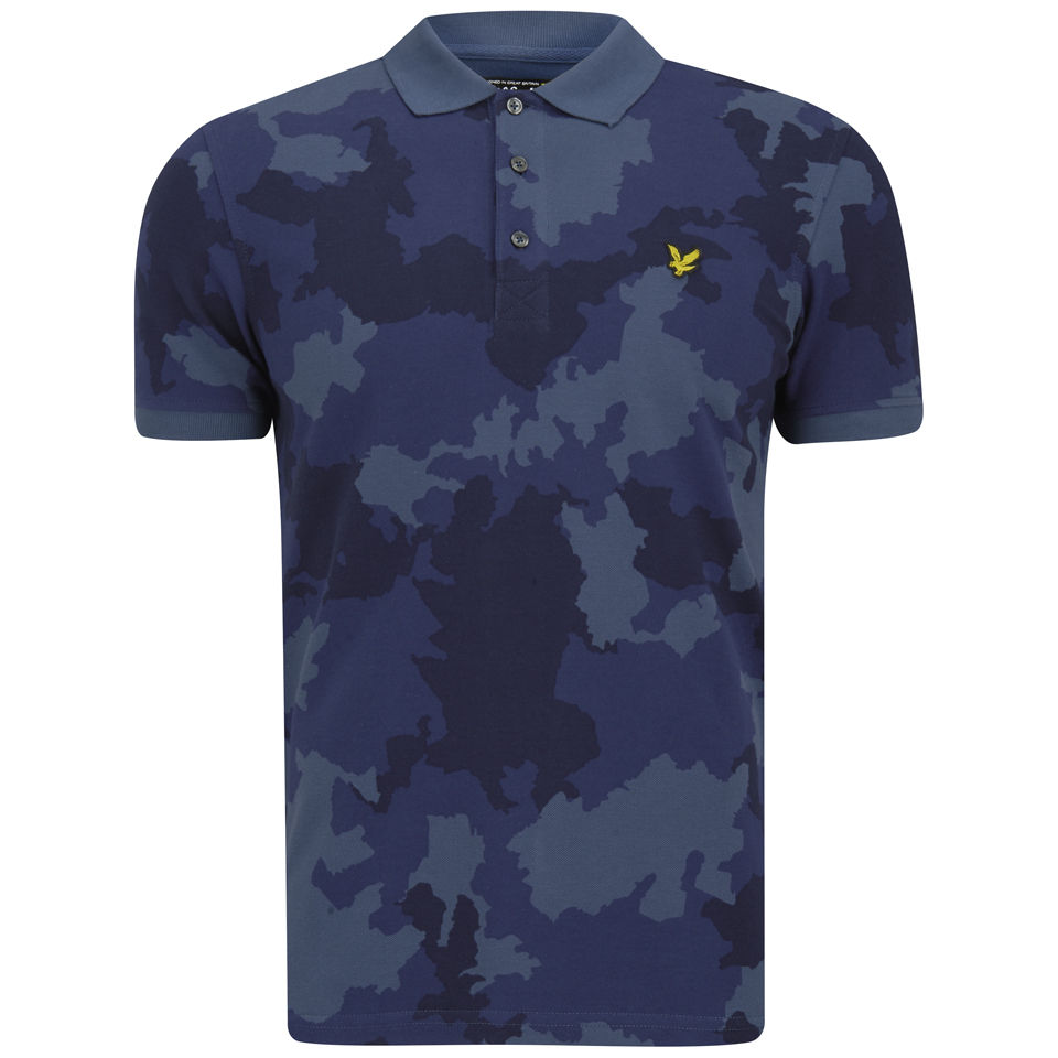 87375371 Lyle & Scott Men's Camo Polo Shirt - True Blue - Free UK Delivery over £50