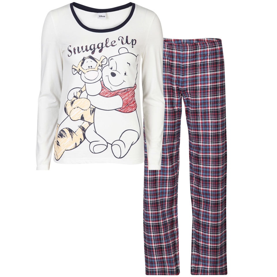 Winnie the Pooh Women s Snuggle Up Checked Pyjama Set - Cream   Navy  Clothing  239a89b80e