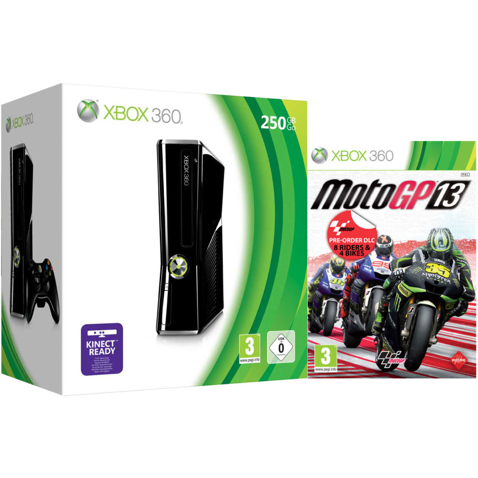Xbox 360 250GB Matte Black Console: Bundle Includes MotoGP ...