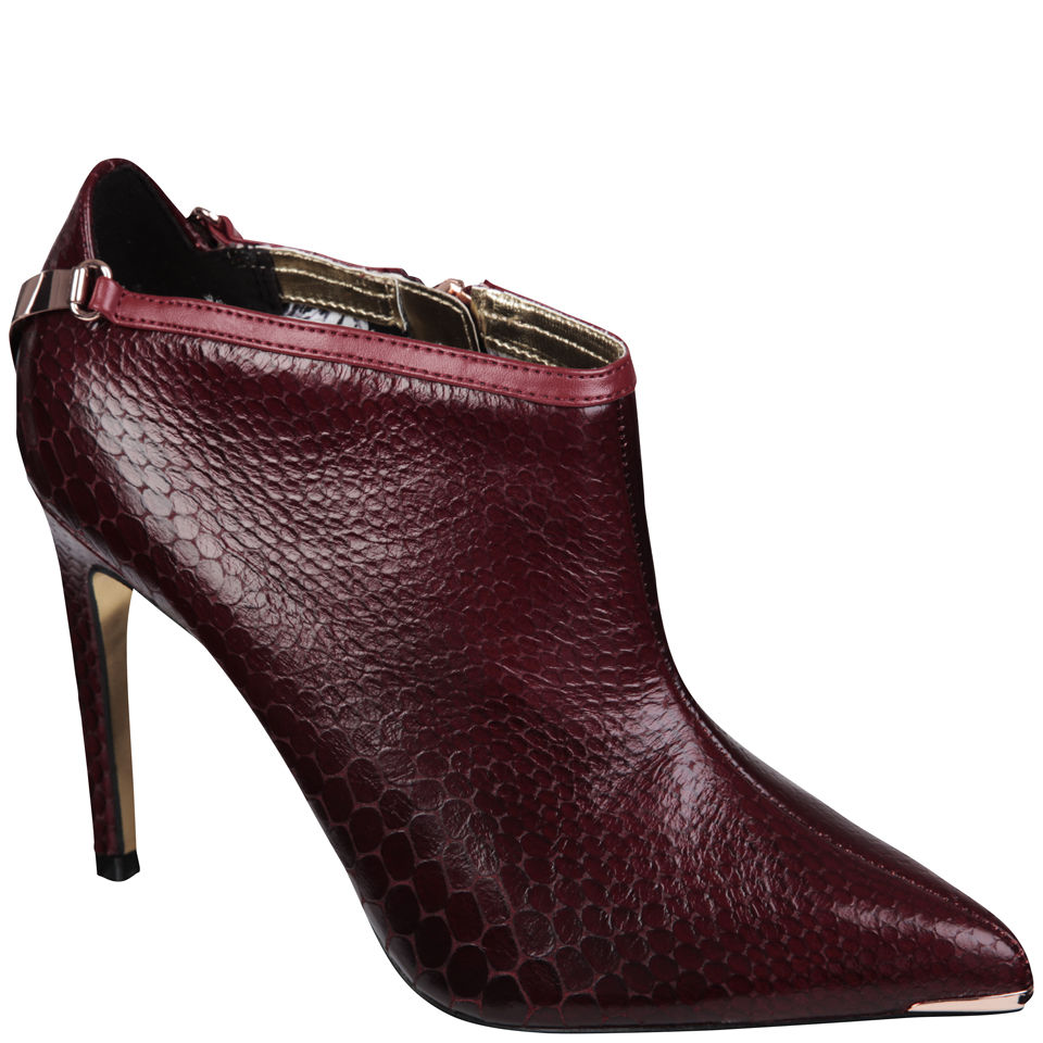 cheapest top design 2019 clearance sale Ted Baker Women's Navlig Leather Pointed Heeled Ankle Boots - Dark Red Snake
