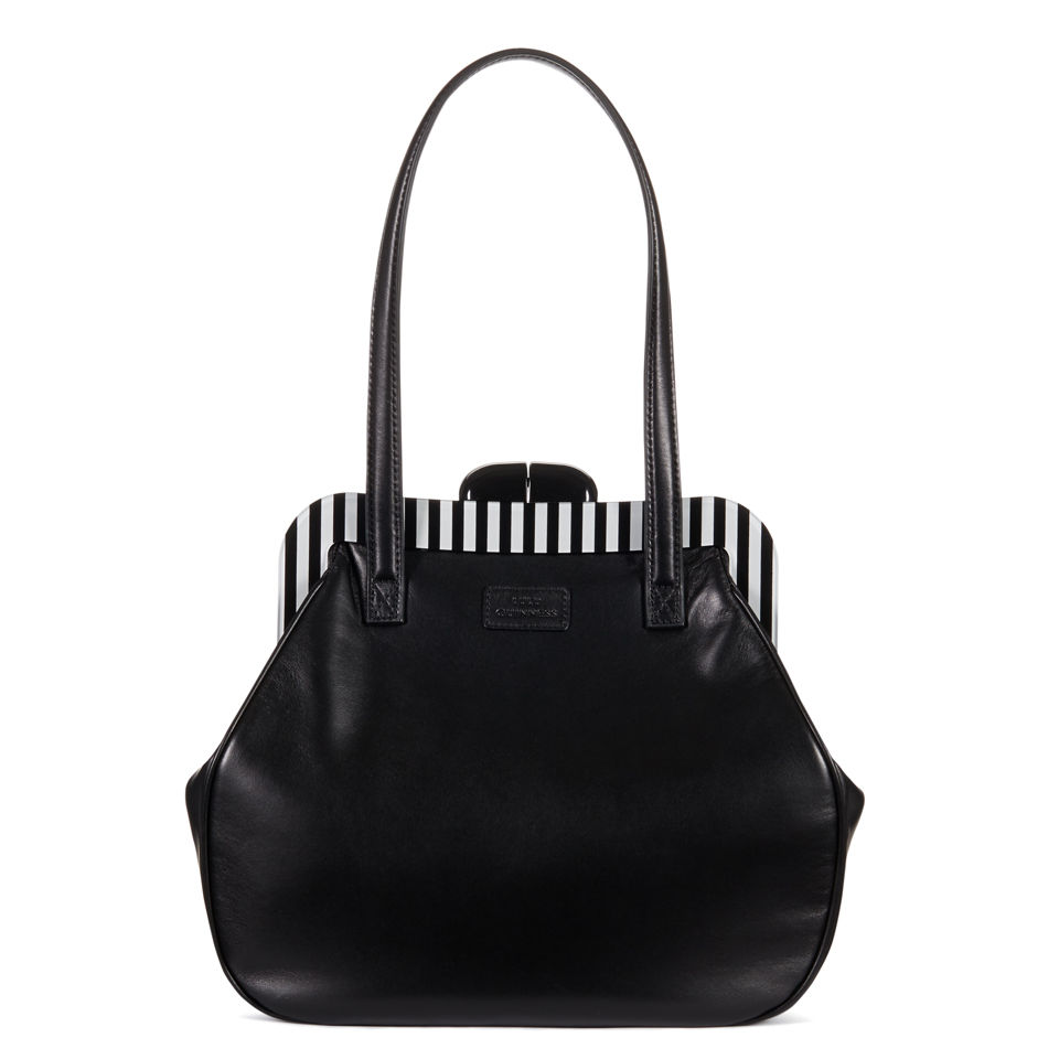 Lulu Guinness Pollyanna Leather Striped Frame Tote Bag - Black - Free UK  Delivery over £50 8ec1539bd8a13