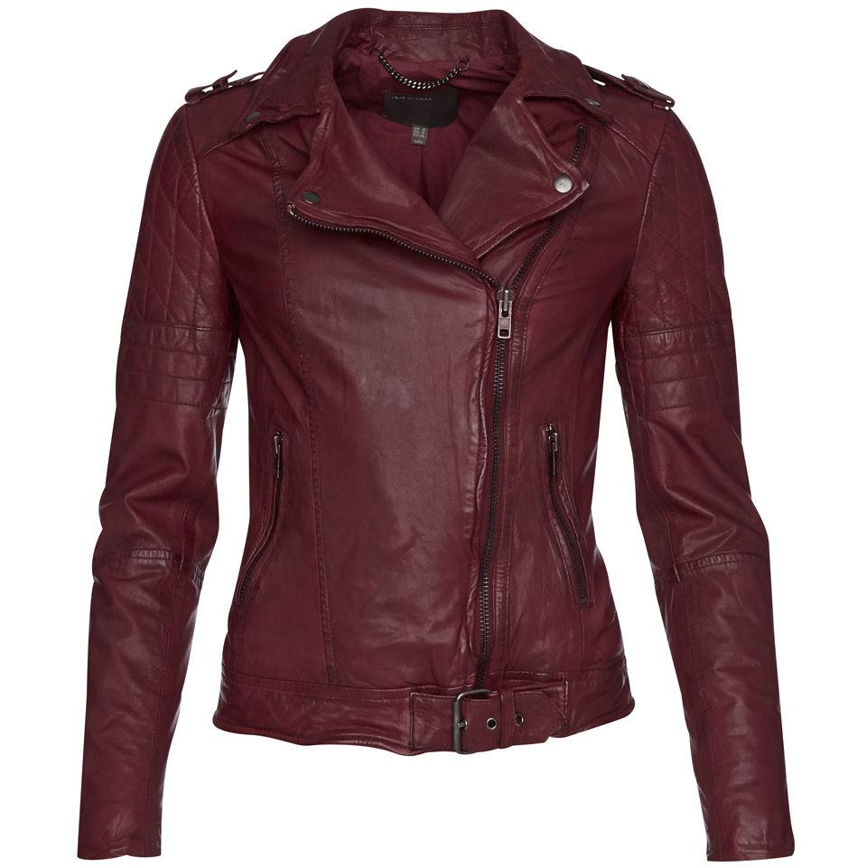Muubaa Women S Nido Quilted Biker Jacket Deep Red Free