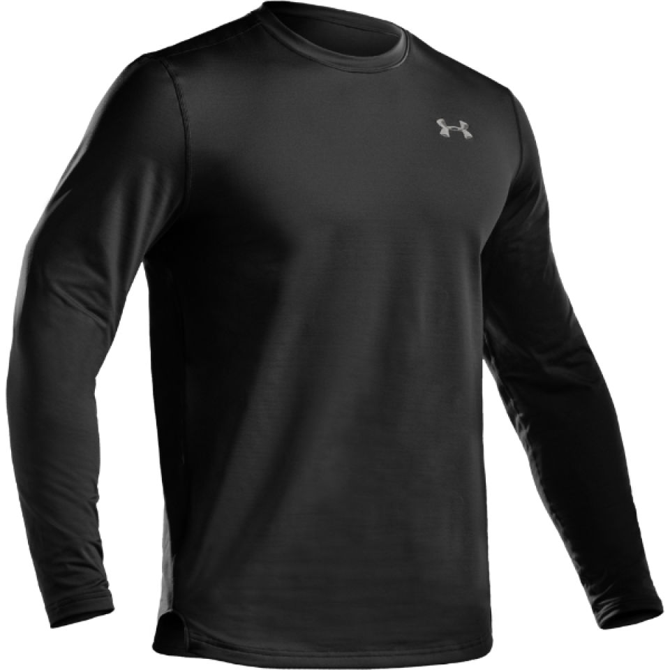 afa6b76555 Under Armour Men's Coldgear Fitted Crew Long Sleeve Top - Black/Metal