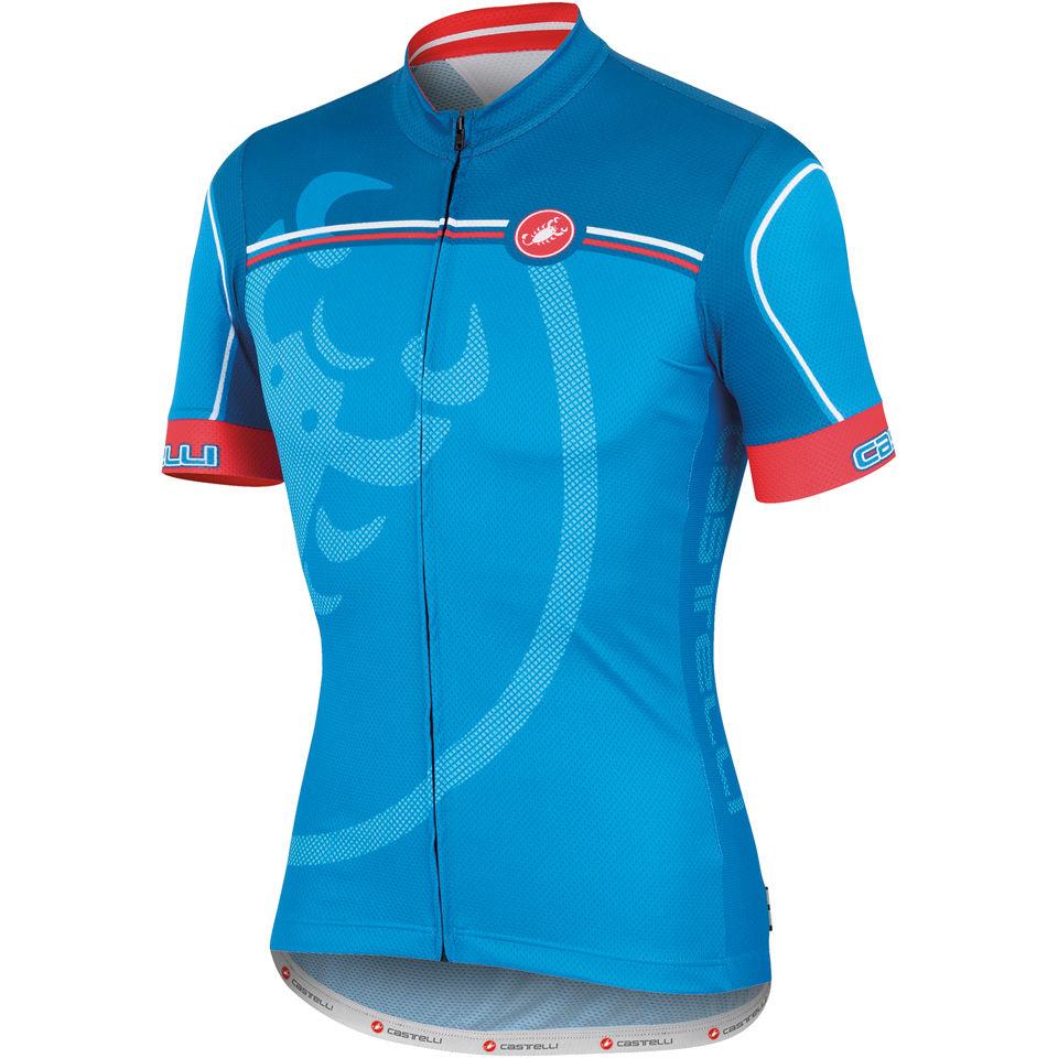 24328501a Castelli Velocissimo Giro Full Zip Jersey - Blue
