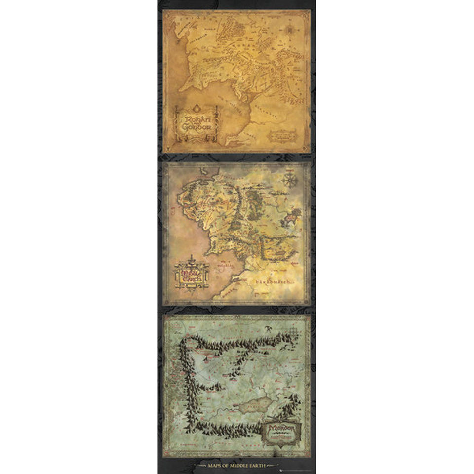 Lord Of The Rings Maps Of Middle Earth Door Poster 53 X 158cm