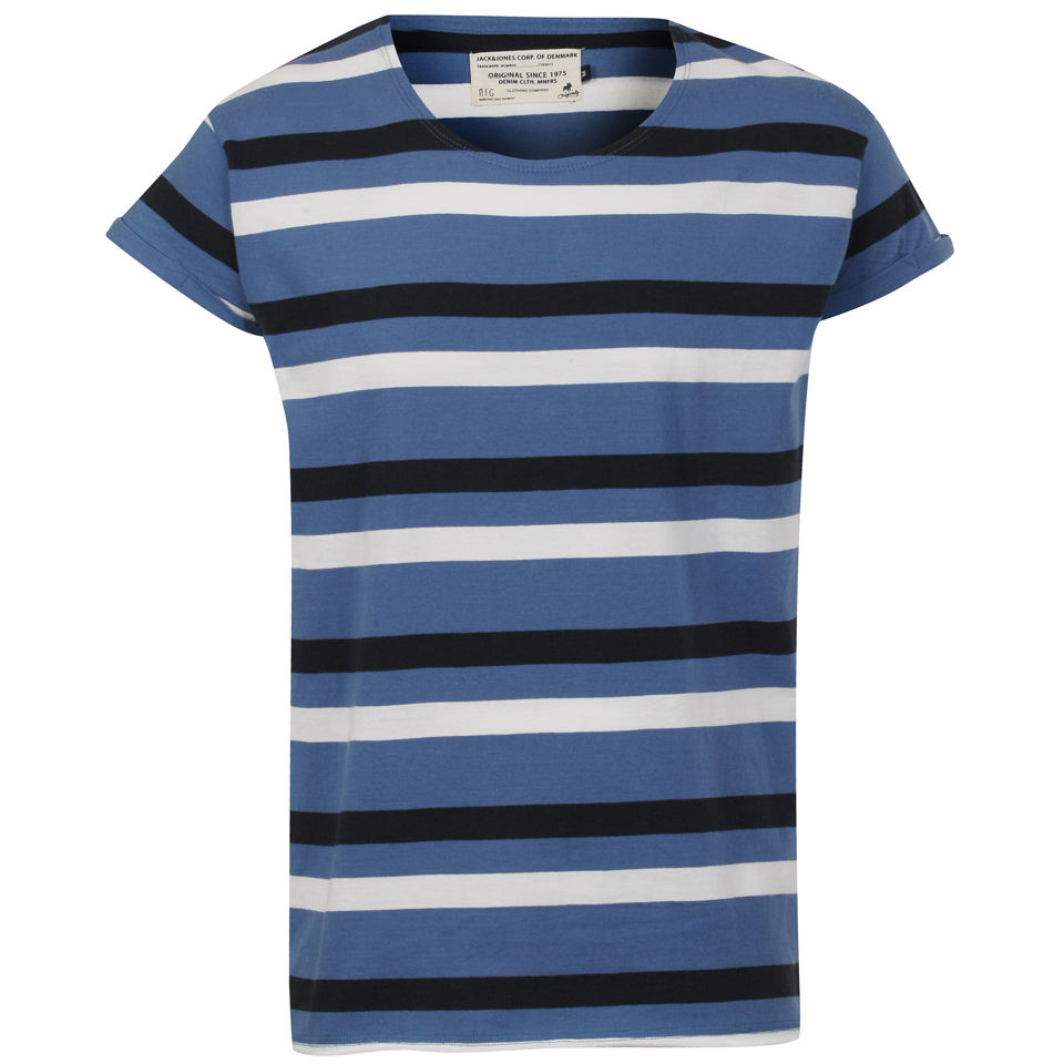 T-Shirt Homme Robit Rayures Jack & Jones - Bleu