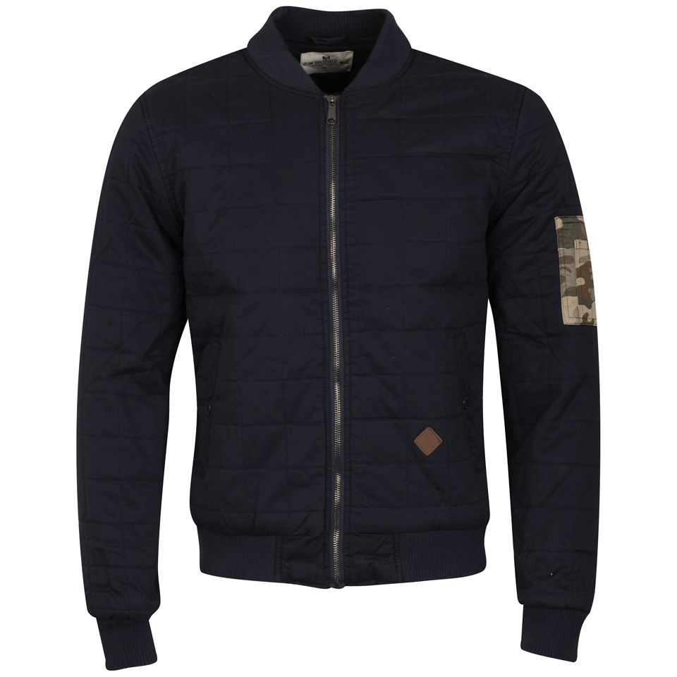 5813b5b1e Bellfield Men's Brigade Quilted Bomber Jacket with Camo Pocket - Navy