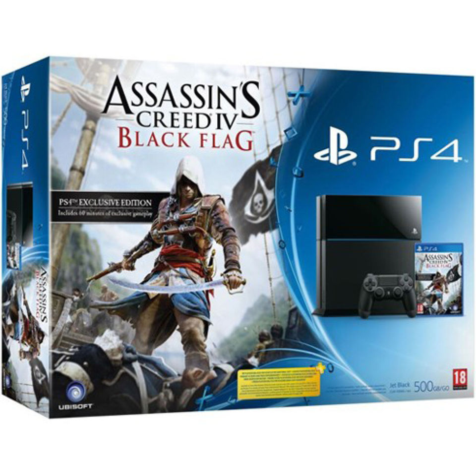 Ps4 New Sony Playstation 4 500gb Console With Assassins Creed Black Games Consoles Zavvi