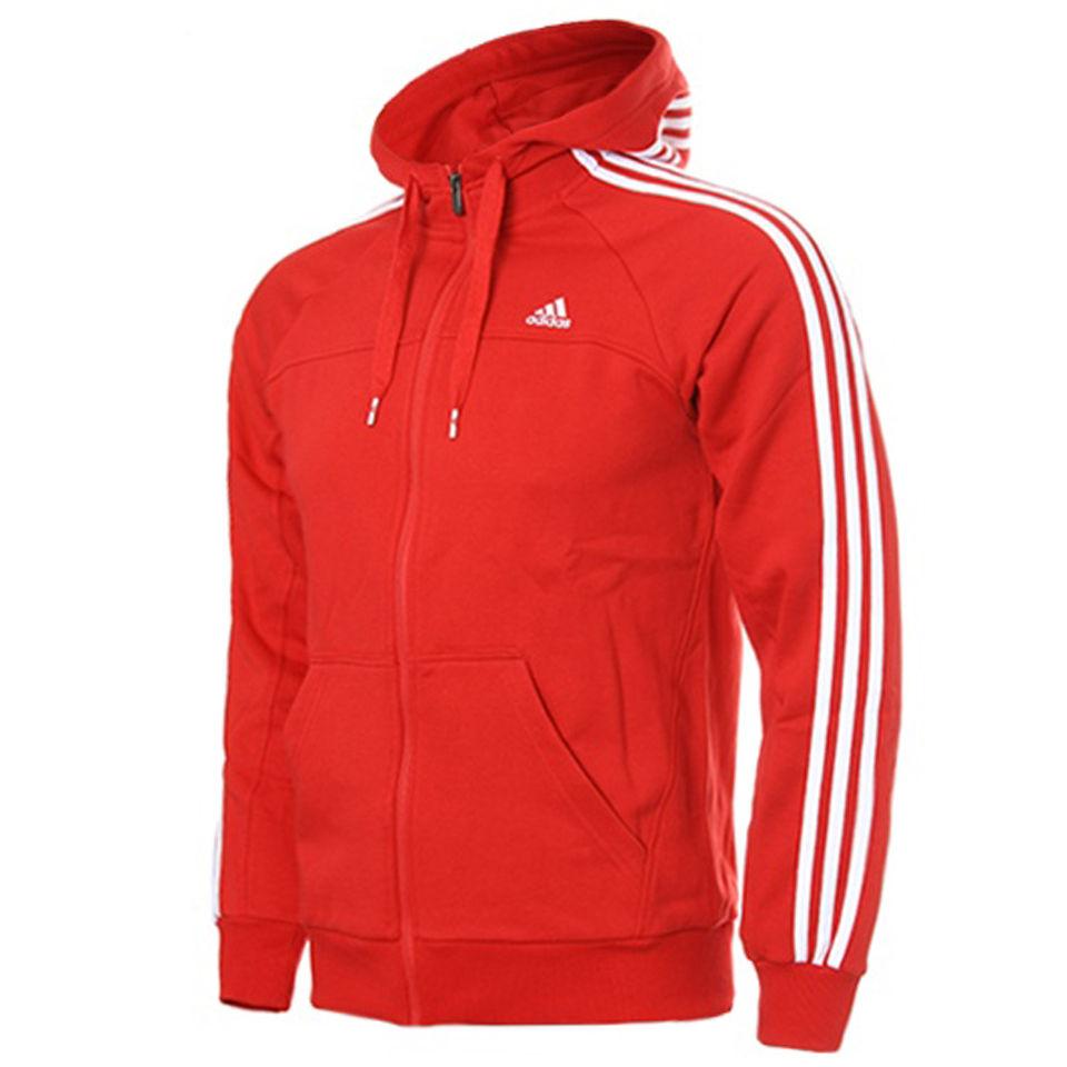 adidas Men's Essential 3 Stripe Full Zip Hoody - Red/White