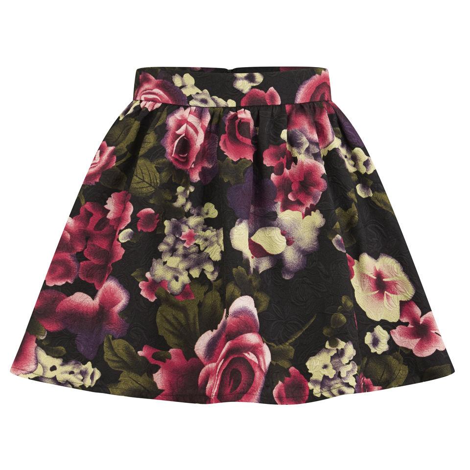 cc600f14e8 Girls On Film Women s Floral Skater Skirt - Pink Womens Clothing ...