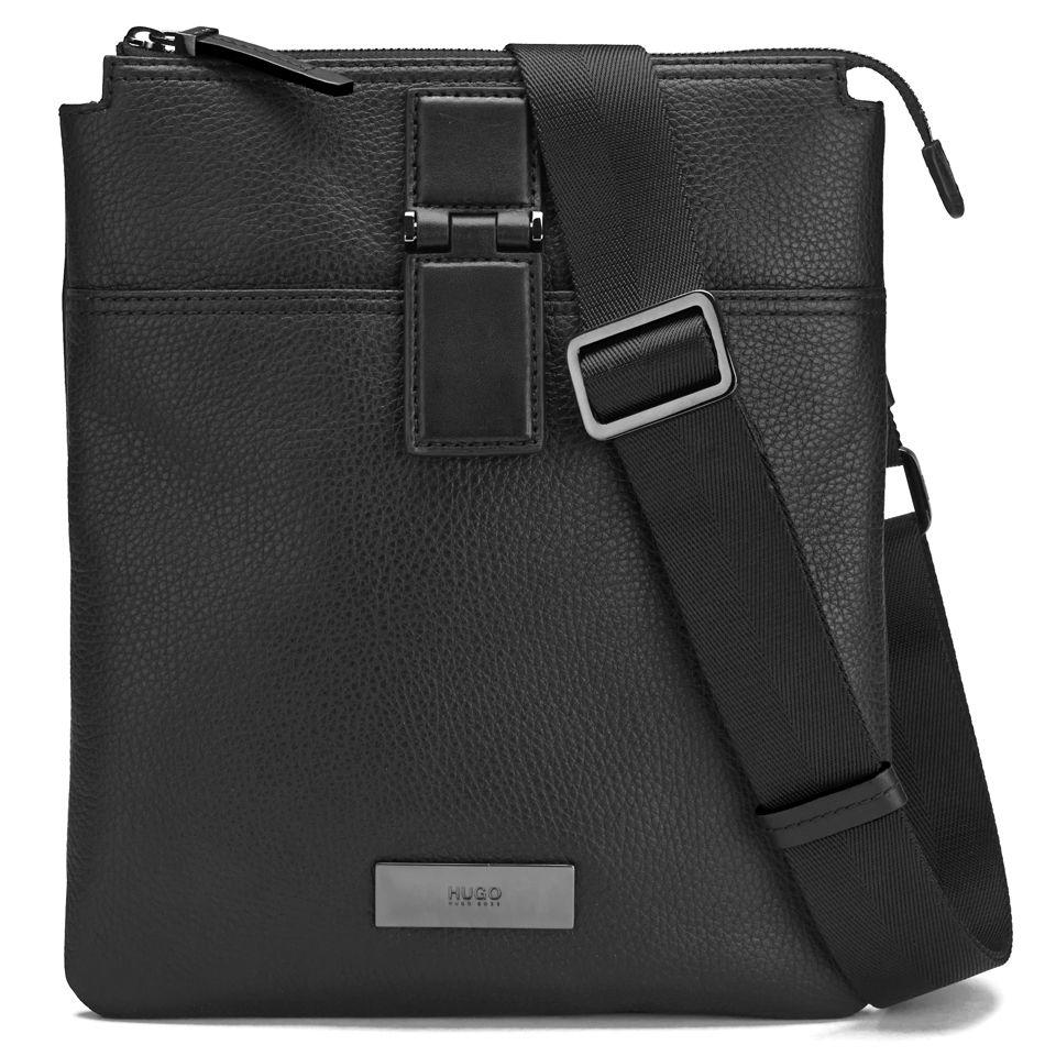 e1d88bbc7a6 BOSS Hugo Boss Men's Rubik Leather Small Messenger Bag - Black - Free UK  Delivery over £50