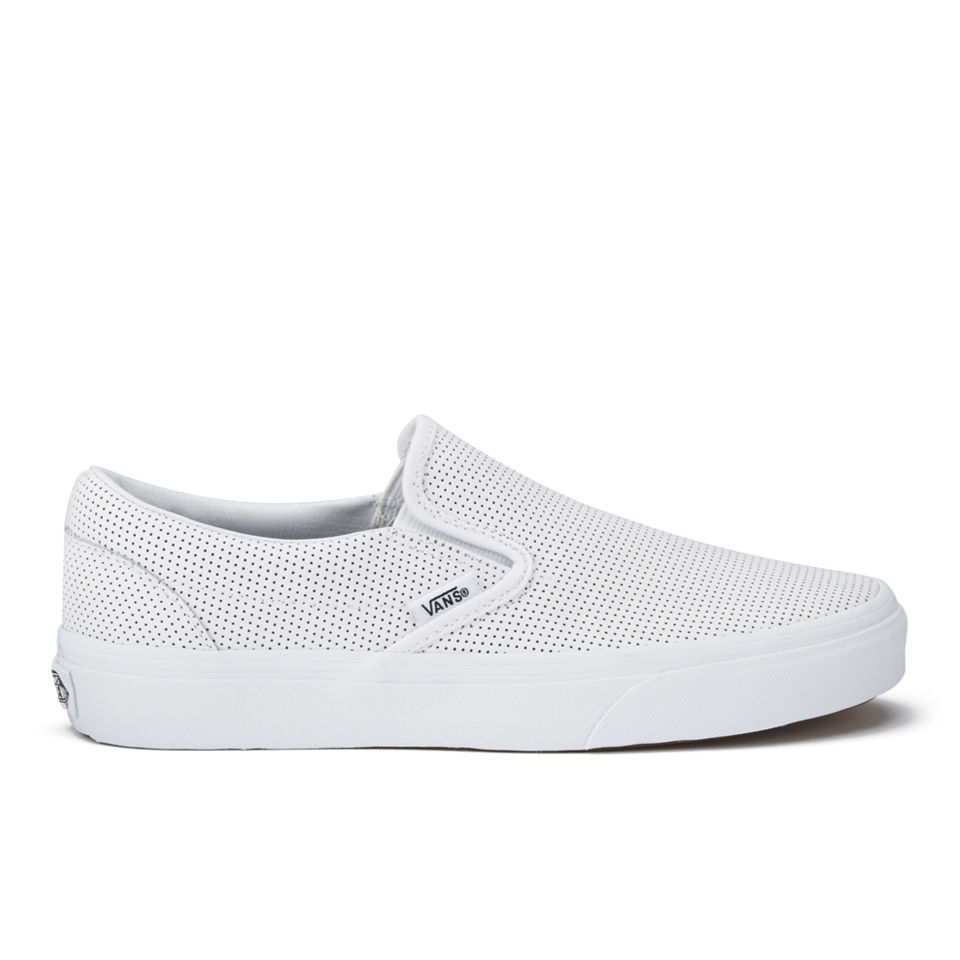 116def3196eb Vans Women s Classic Perforated Leather Slip-On Trainers - White ...