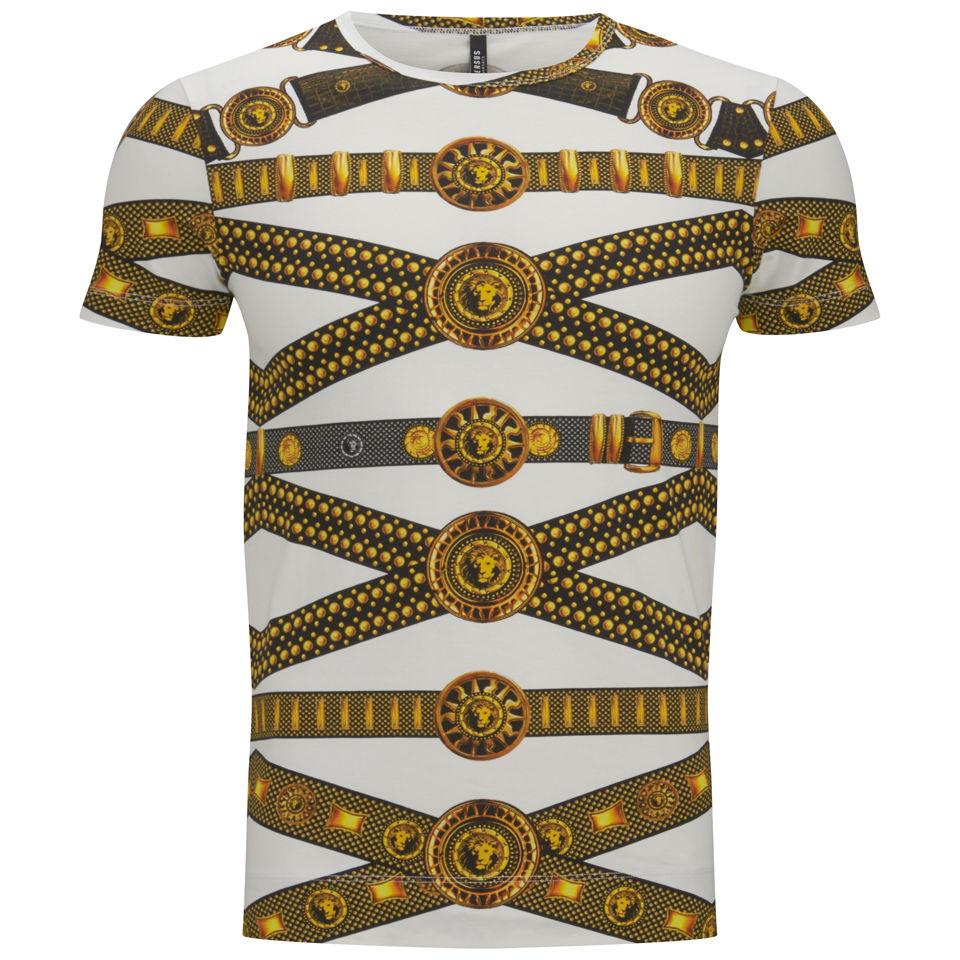bbc6060c Versus Versace Men's Belt Print T-Shirt - Black and Stamp - Free UK ...