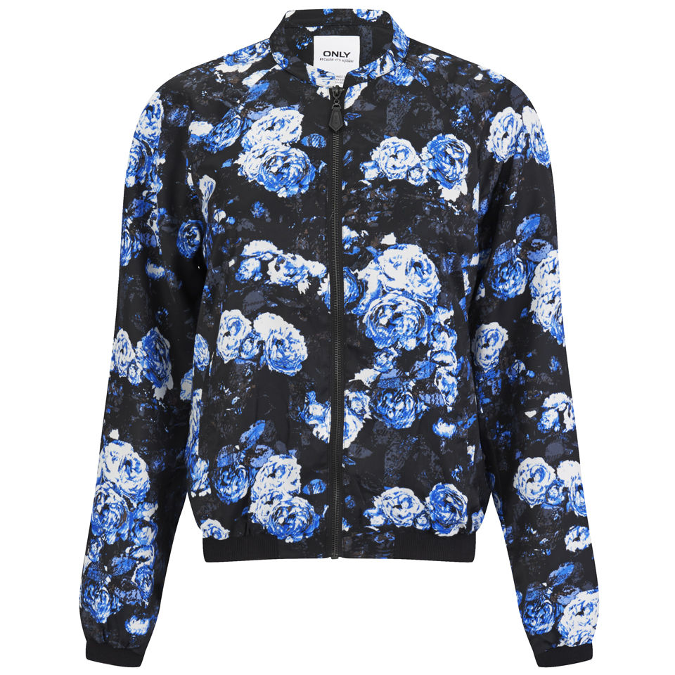 Only Women S Rayne Floral Bomber Jacket Blue Womens
