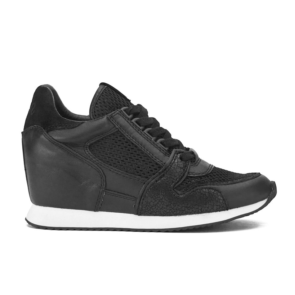a45d15ee760 Ash Women s Dean Mesh Leather Low Wedged Trainers - Black - Free UK ...