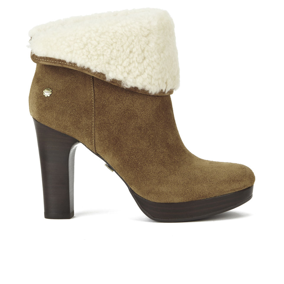 2863f45609c UGG Women's Dandylion Suede/Sheepskin Heeled Ankle Boots - Chestnut