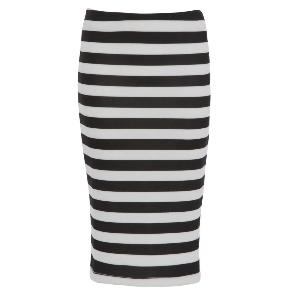 a886fbd8b ... Damned Delux Women's Humbug Strip Scuba Pencil Skirt - Black/White