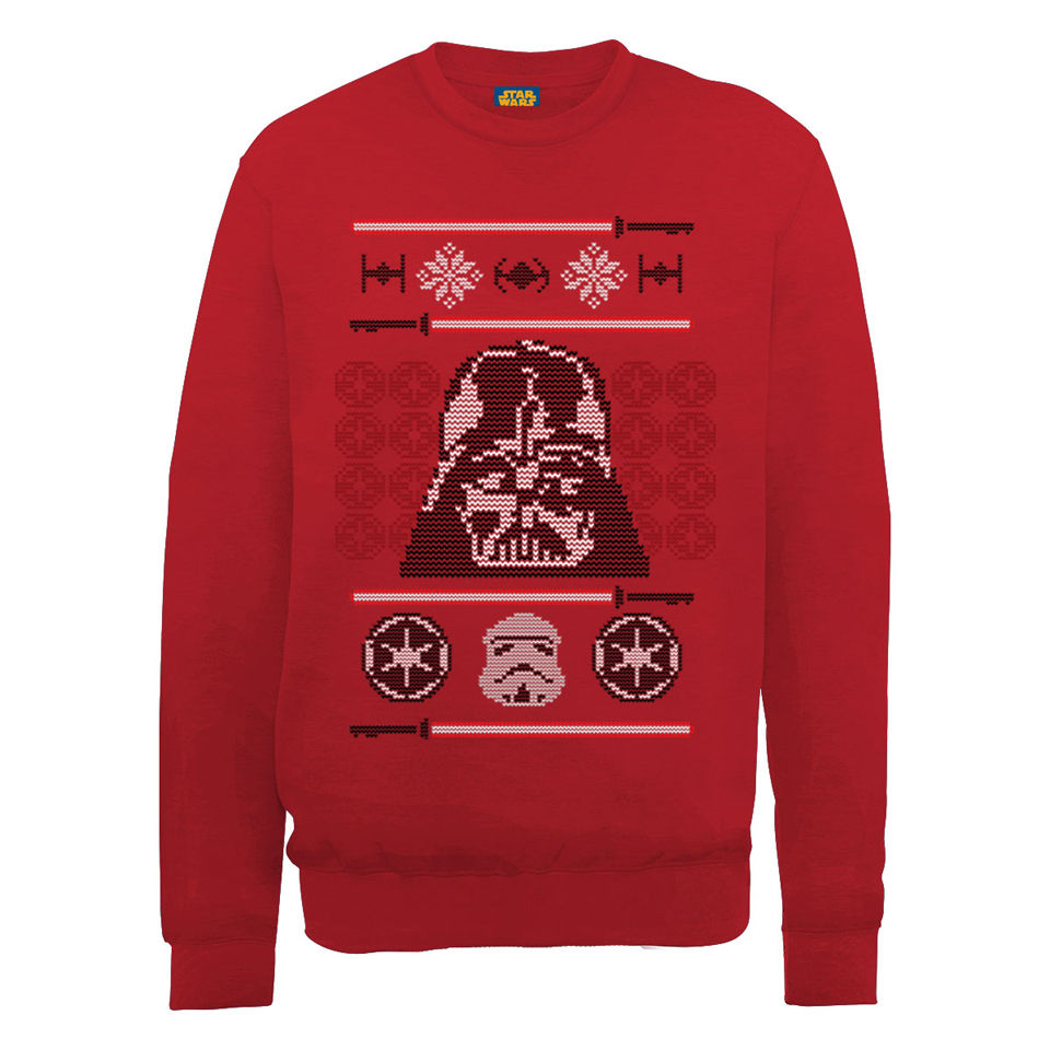 Kersttrui Metal.Star Wars Christmas Darth Vader Head Sweatshirt Red Merchandise