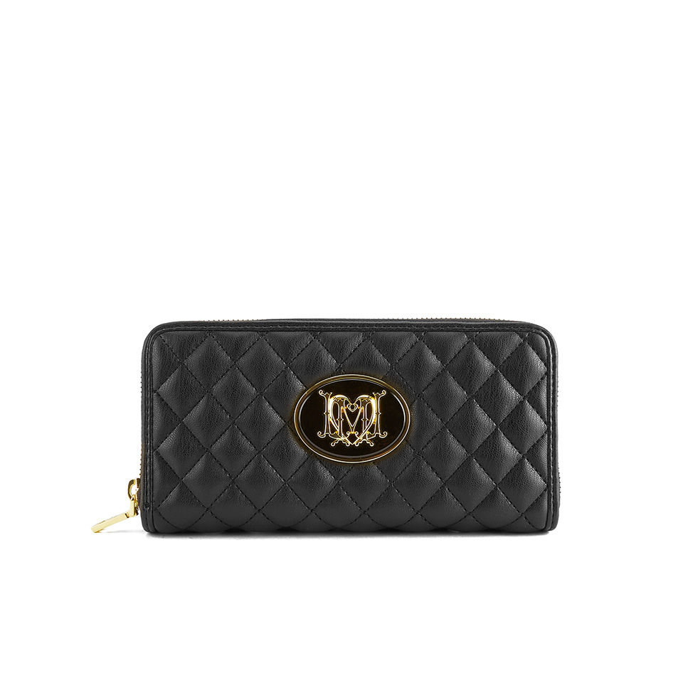 d2f91aad657c Love Moschino Women s Quilted Zip Around Purse - Black - Free UK Delivery  over £50