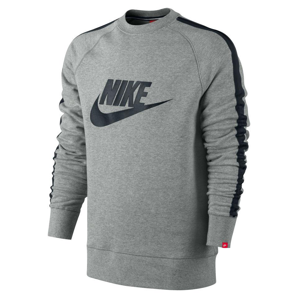 Nike Men's AW 77 Tape Logo Crew Neck Sweater Grey