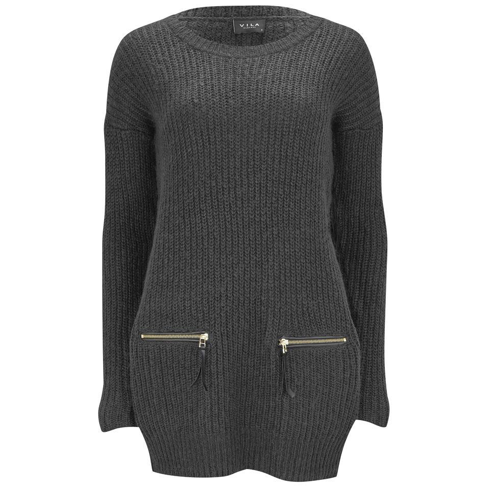 88d01be7e31fa VILA Women's Affleck Jumper Dress - Dark Grey Melange Womens Clothing |  TheHut.com