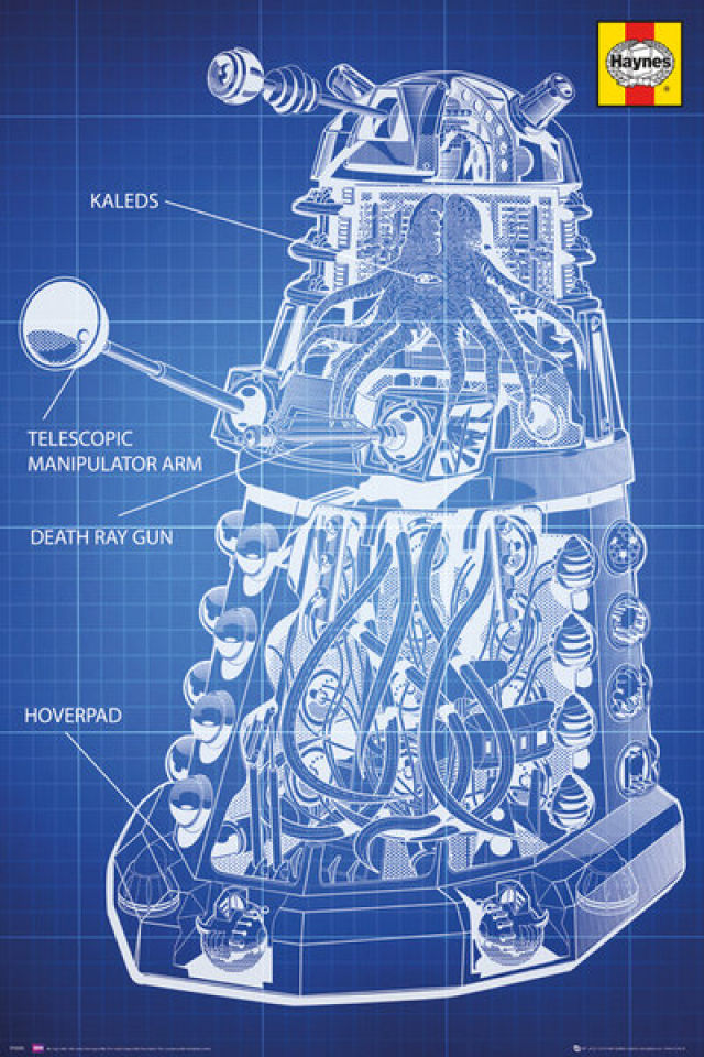 NEW /& OFFICIAL! T-Shirt Navy Doctor Who /'Dalek Blueprint/'
