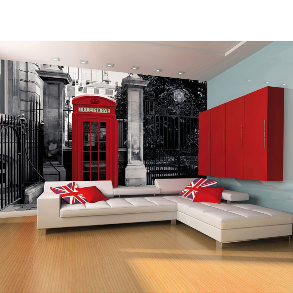 Red british telephone box on a black and white backdrop for Black and white london mural wallpaper